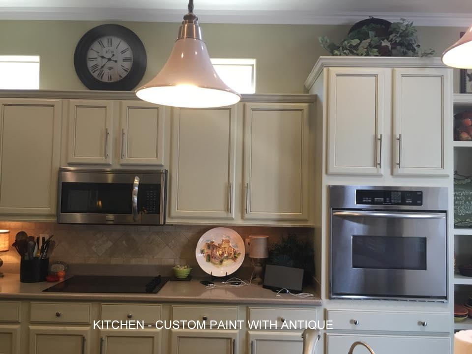 Kitchen with custom paint with antique