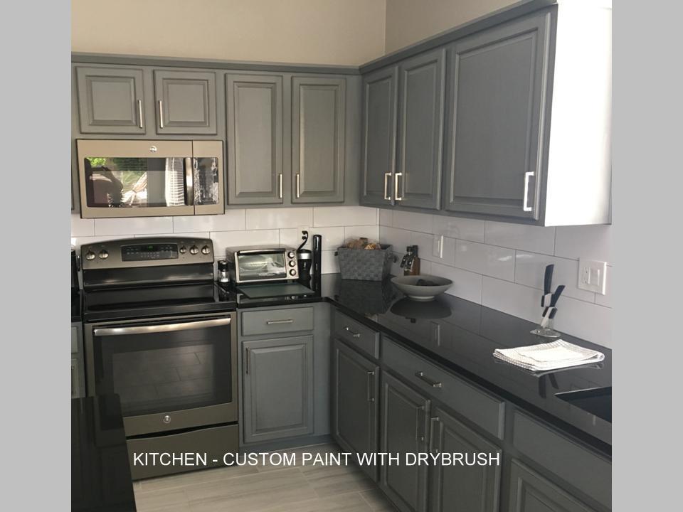 Kitchen with custom dry brush paint
